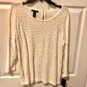 Alfani Women Creme Colored w Gold Beading Sweater